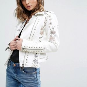 Blank NYC Floral Studded Faux Leather Moto Jacket